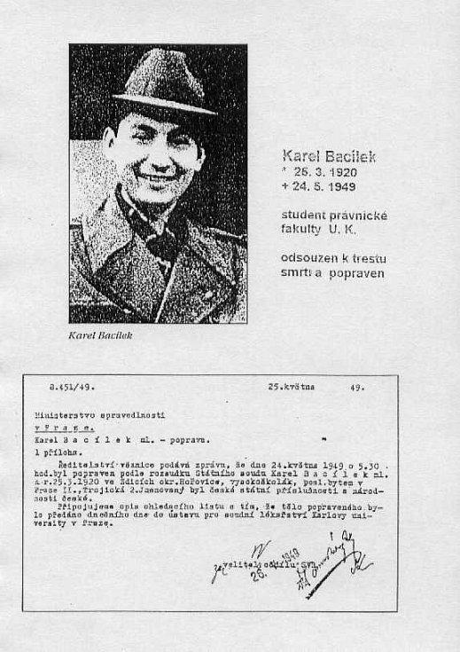Studentský průkaz Karla Bacílka