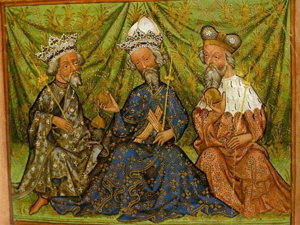 Václav IV., Karel IV. a Jošt Moravský, iluminace z Památné knihy olomoucké z roku 1430