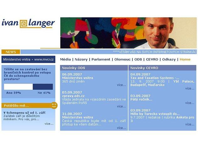 Internetová stránka Ivana Langera z ODS.