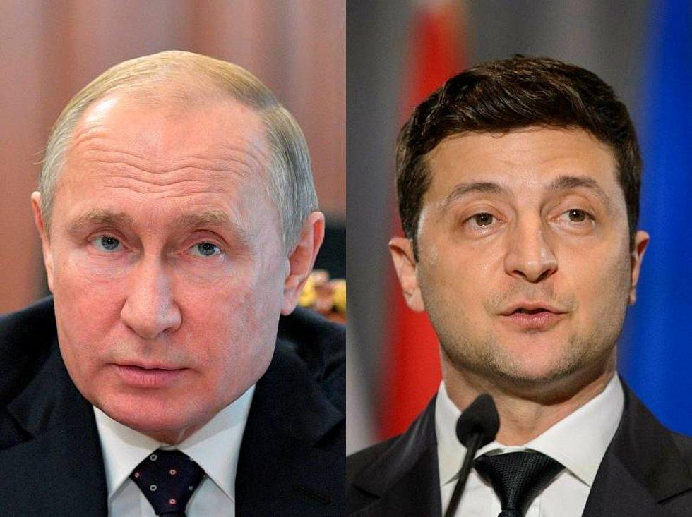 Vladimir Putin a Volodymyr Zelenskyj - Na kombinovaném snímku ruský prezident Vladimir Putin (vlevo) a jeho ukrajinský protějšek Volodymyr Zelenskyj