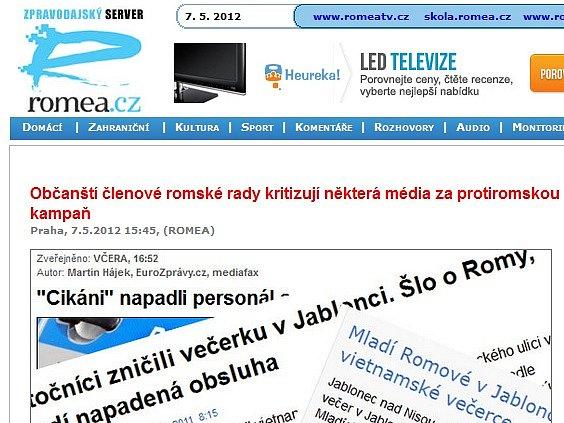 Prohlášení zástupců Romů na serveru Romea.cz