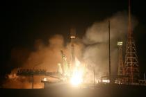 Start rakety Sojuz z Bajkonuru