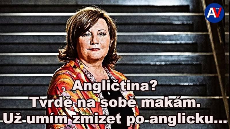 Údajná neschopnost ministryně financí Aleny Schillerové komunikovat v angličtině uživatele internetu pobavila i pobouřila