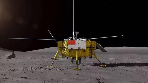 Animace přistání modulu s čínskou sondou Čchang-e 4 na odvrácené straně měsíce