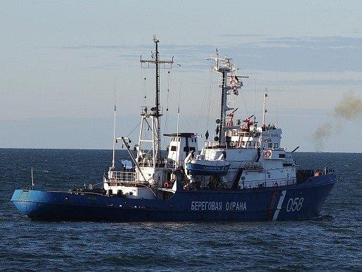 Loď pohraniční hlídky, která se zmocnila ledoborce hnutí Greenpeace.