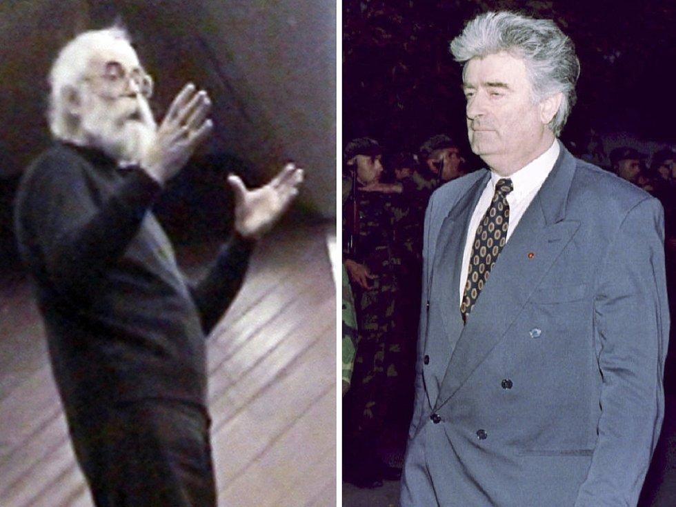 Kombinovaná fotografie ukazuje jak vypadá Radovan Karadžić nyní a jak vypadal v roce 1995.