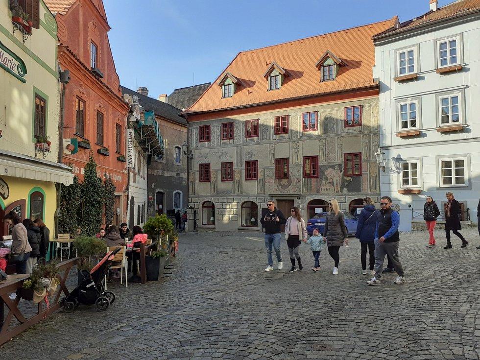 Kájovská ulice v Českém Krumlově 20. 2. 2021