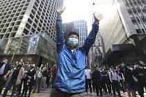 Protest ve finanční čtvrti v Hongkongu.