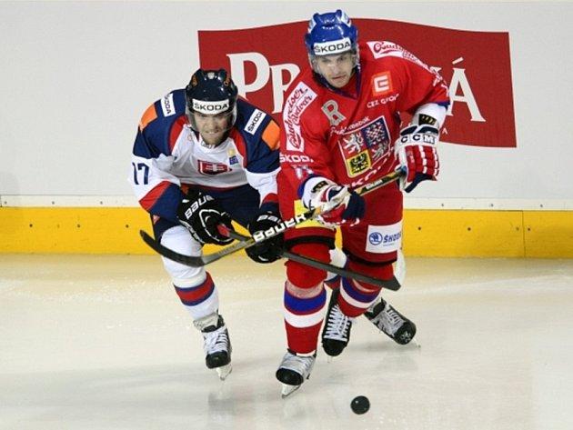 Zleva Ján Sýkora ze slovenského týmu a český reprezentant Petr Hubáček.