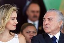 Brazilský prezident Michel Temer s manželkou.
