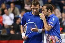 Tomáš Berdych (vlevo) a Radek Štěpánek v Davis Cupu proti Německu.