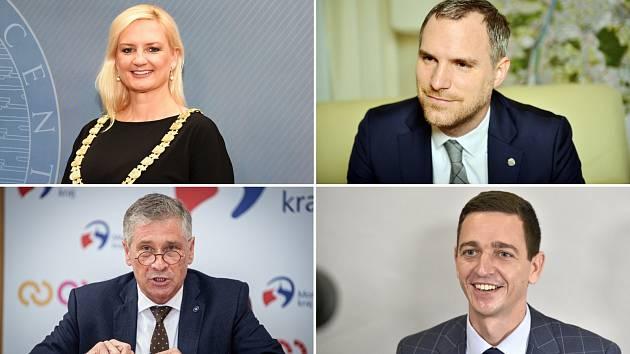 Hejtmanka Petra Pecková a hejtmani Ivo Vondrák, Jan Grolich a Zdeněk Hřib