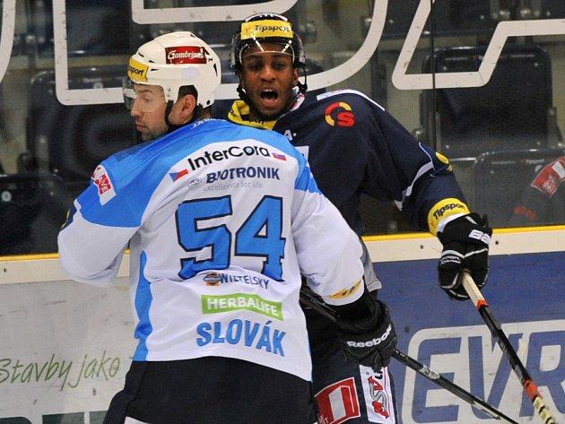 Tomáš Slovák z Plzně (vlevo) a Wayne Simmonds z Liberce.