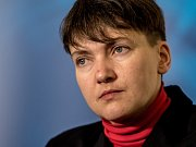 Ukrajinská politička Nadija Savčenková vystoupila 12. ledna v Praze na tiskové konferenci.