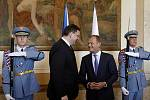 Premiér Petr Nečas přivítal v Praze svého polského protějška Donalda Tuska