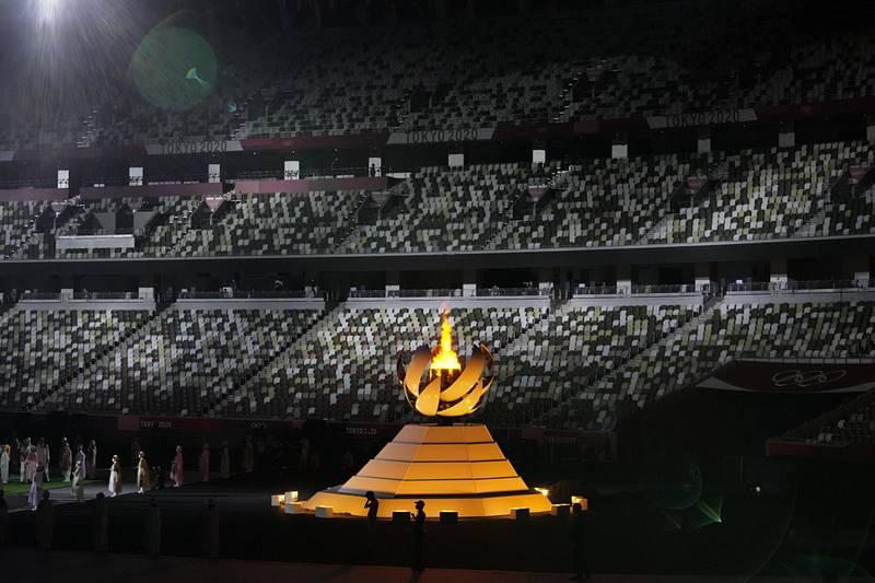Závěrečný ceremoniál, při němž byly ukončeny XXXII. letní olympijské hry v Tokiu.