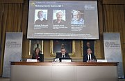 Vyhlašování Nobelových cen za chemii ve Stockolmu 2017