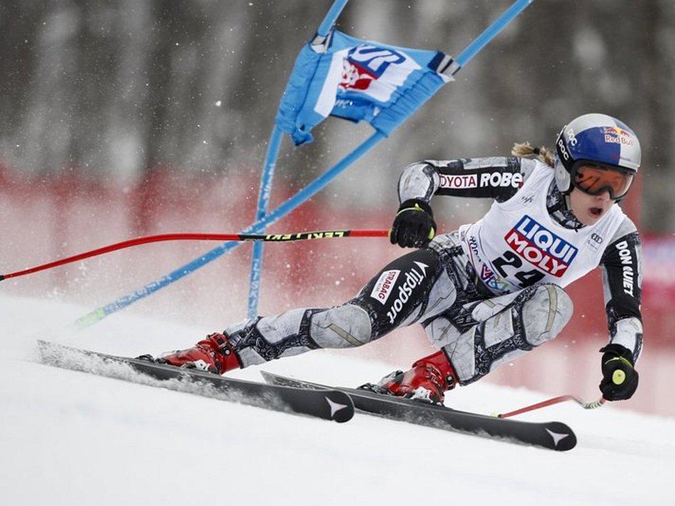 Česká lyžařka Ester Ledecká v superobří slalomu SP v Krasné Poljaně.