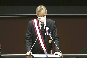 Předseda Senátu Miloš Vystrčil vystoupil 1. září 2020 v Tchaj-peji na zasedání Legislativního dvora, tchajwanského parlamentu