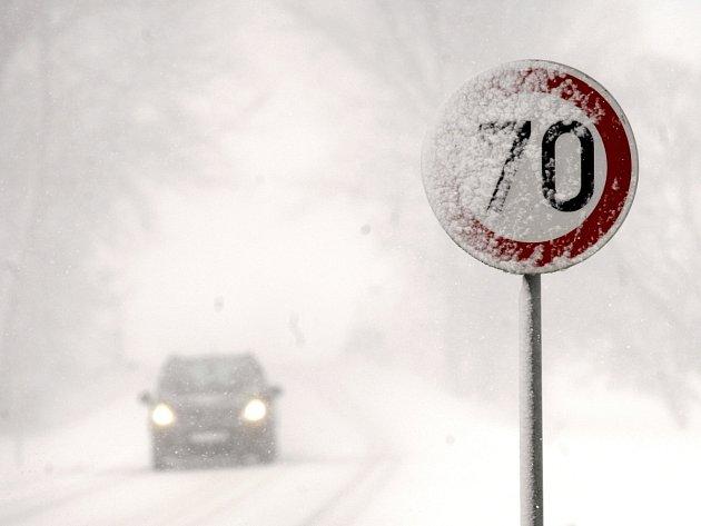 Husté sněžení v Ostravě.