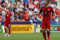 Střelec úvodního gólu proti Dánsku Pavel Kadeřábek (vpravo).
