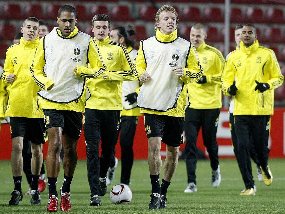 Fotbalisté Liverpoolu na tréninku před zápasem Evropské ligy proti Spartě.