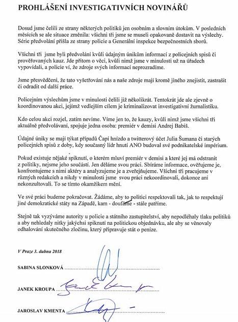Společné prohlášení novinářů zveřejněné na severu Neovlivní.cz