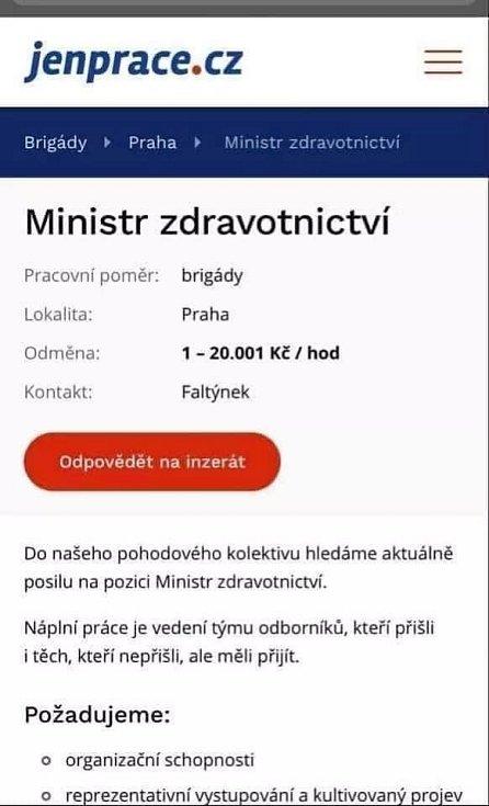 Hledá se ministr zdravotnictví