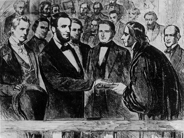 Inaugurace Abrahama Lincolna na dobové ilustraci