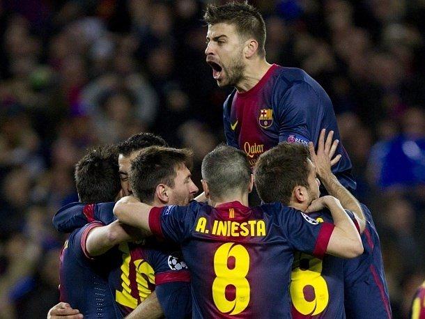 Radost v podání fotbalistů Barcelony.