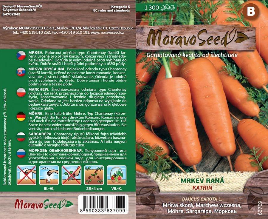 Kromě klasických druhů zeleniny lze dnes koupit i semínka jarních odrůd. Na snímku mrkev Katrin