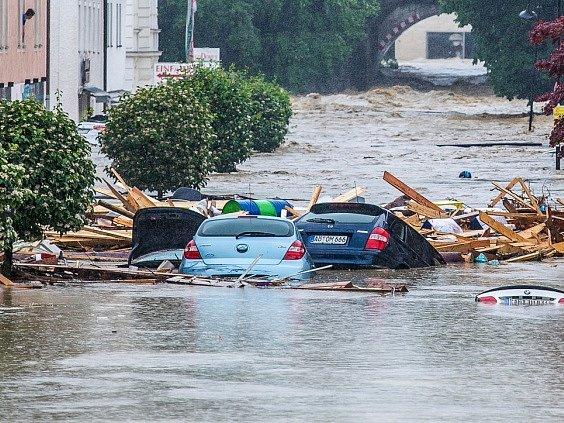 Záplavy v Bavorsku.