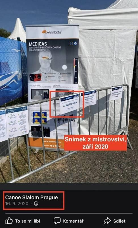 Tato podoba hoaxu zneužila fotografie stanového městečka, které bylo ve skutečnosti postaveno u příležitosti mistrovství světa ve vodním slalomu, které se konalo v září 2020
