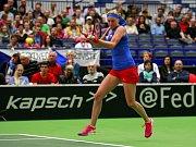 Petra Kvitová ve Fed Cupu proti Francii.