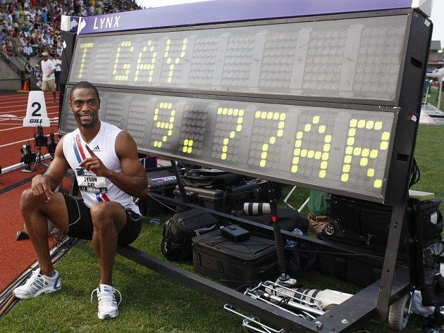 Sprinter Tyson Gay zaměhl stovku v novém národním rekordu.