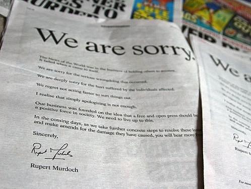 Omluva tiskového magnáta Murdocha.