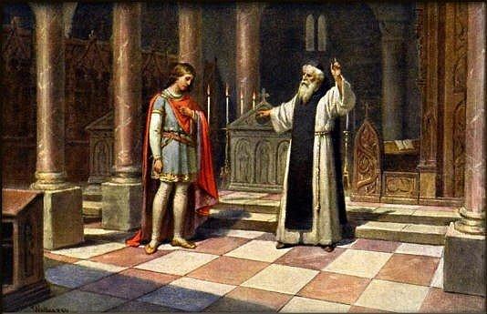 Václav III. u hrobu svého otce na Zbraslavi, napomínán opatem Konrádem z Erfurtu, aby zanechal lehkomyslného života a věnoval se vládě