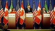 Kanadská ministryně zahraničí Chrystia Freeland, Americký zástupce Robert Lighthizer a mexický ministr hospodářství Ildefonso Guajardo na čtvrtém kole jednání v říjnu 2017.