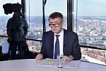 Andrej Babiš v pořadu České televize Otázky Václava Moravce.
