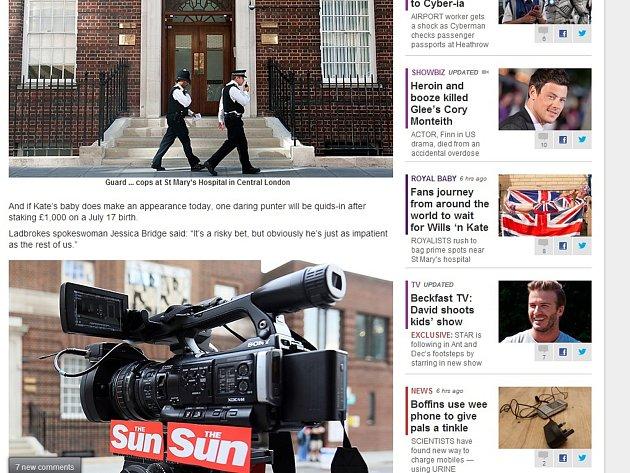 Bulvární deník The Sun ode dneška živě sleduje londýnskou porodnici St. Mary, kde má dítě přijít na svět.