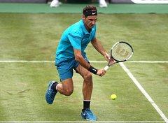 Roger Federer na svém oblíbeném povrchu.