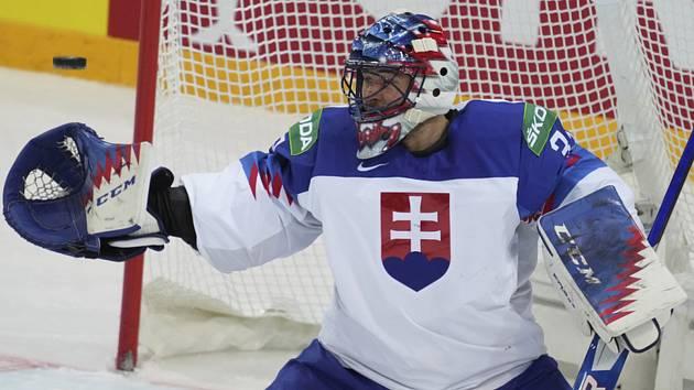 Slovenský brankář Július Hudáček v utkání proti Rusku.