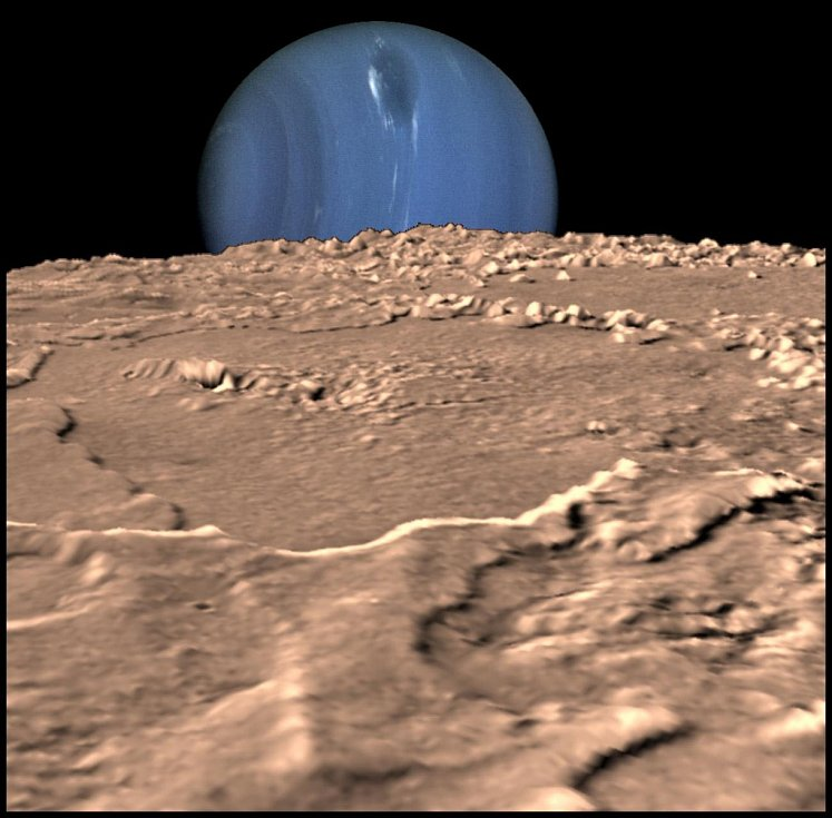 Pohled na Neptun z měsíce Triton. Vědci předpokládají, že na Neptunu jsou kapky vpodobě diamantů.