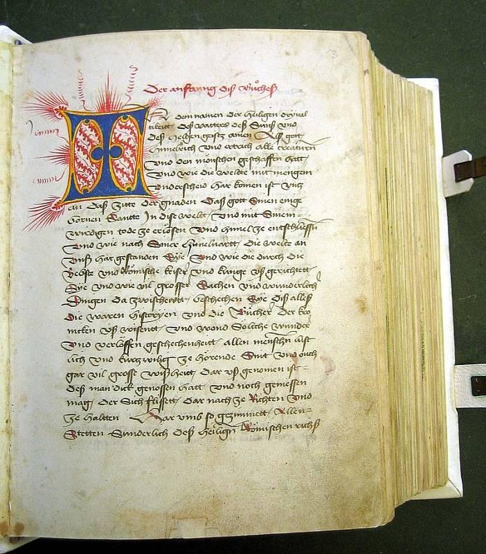 Stránky švýcarské Tschachtlanovy kroniky (Tschachtlanchronik)