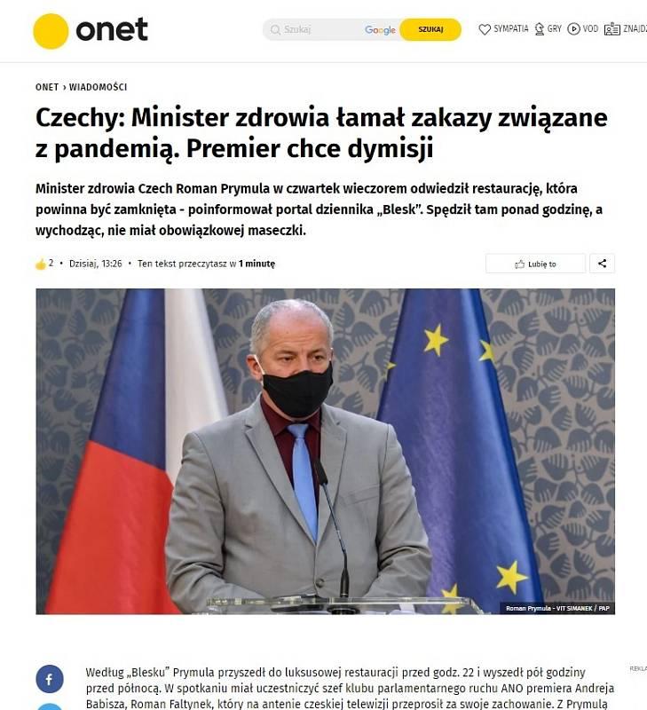 Světová média zaznamenala Prymulovu blamáž. Onet.pl