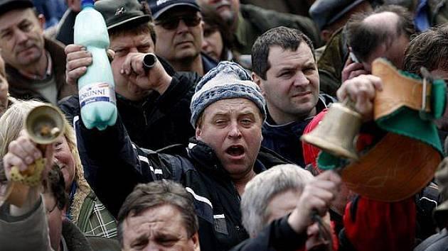 Protest zemědělců v Praze