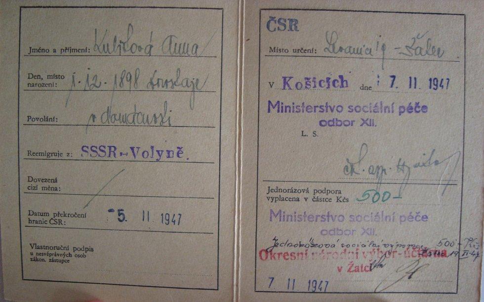 Průkaz reemigranta (matky Rostislava Kubišty) z Volyně (2)