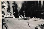 Silnice v Desné v Jizerských horách po výbuchu ruské cisterny 21. srpna 1968.