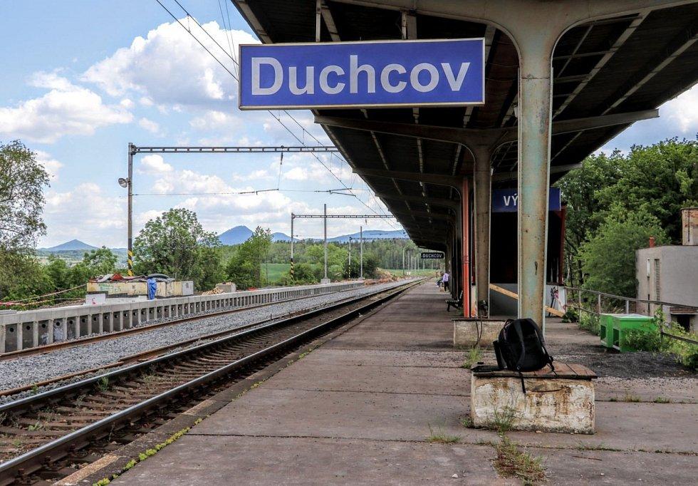 Nástupiště Duchcov. Stav k červnu 2020