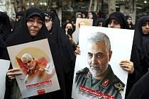 Smuteční průvod za Solejmáního v Teheránu